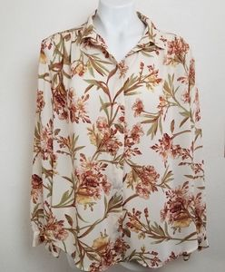 H&M Womens Floral Print Long Sleeves Buttons Down
